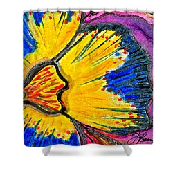 Shower Curtain featuring the painting Yellow Blue Flower by Joan Reese