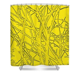 Yellow Branches Shower Curtain by Carol Lynch