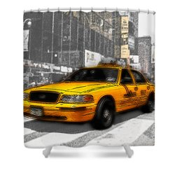 Yellow Cab At The Times Square -comic Shower Curtain by Hannes Cmarits