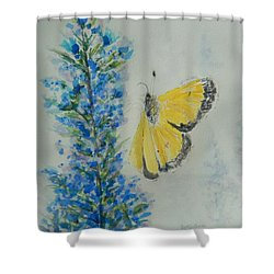 Yellow Cabbage Butterfly Shower Curtain