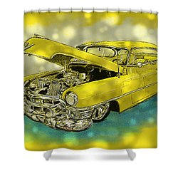 Yellow Cad Shower Curtain