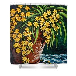 Shower Curtain featuring the painting Yellow Cascade by Katherine Young-Beck
