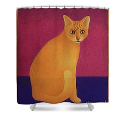 Yellow Cat Shower Curtain by Pamela Clements
