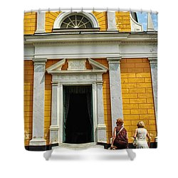 Shower Curtain featuring the photograph Yellow Church by Allen Beatty