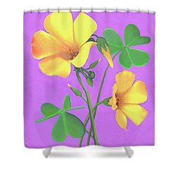Yellow Clover Flowers Shower Curtain
