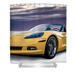 Yellow Corvette Convertible Shower Curtain