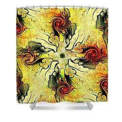 Yellow Cross Shower Curtain by Anastasiya Malakhova