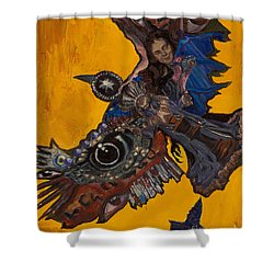 Yellow Crow Shower Curtain
