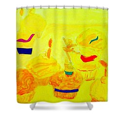 Yellow Cupcakes Shower Curtain by Suzanne Berthier