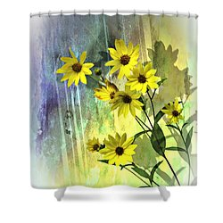 Yellow Daisies Shower Curtain by Judy  Johnson