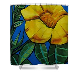 Yellow Elder - Flower Botanical Shower Curtain by Grace Liberator