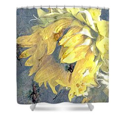 Shower Curtain featuring the photograph Yellow Fading Flower by Patricia Januszkiewicz