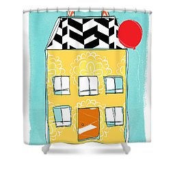 Yellow Flower House Shower Curtain by Linda Woods