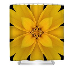 Yellow Flower Kaleidoscope Abstract Shower Curtain by Don Johnson