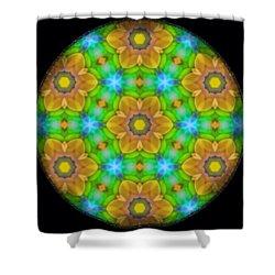 Yellow Flower Mandala Shower Curtain by Karen Buford