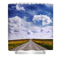 Yellow Flower Road Shower Curtain