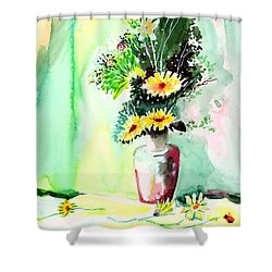 Yellow Flowers 1 Shower Curtain by Anil Nene