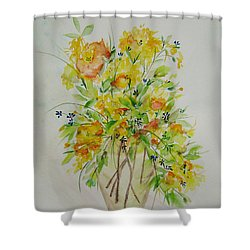 Yellow Flowers Shower Curtain by Judith Rhue