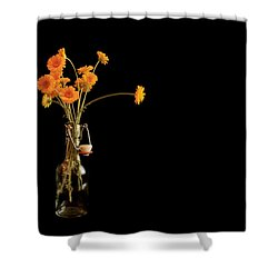 Orange Flowers On Black Background Shower Curtain