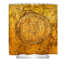 Yellow Gold Mixed Media Triptych Part 1 Shower Curtain