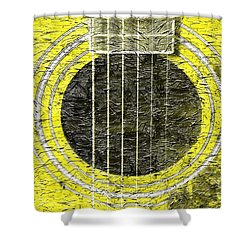 Yellow Guitar - Digital Painting - Music Shower Curtain by Barbara Griffin