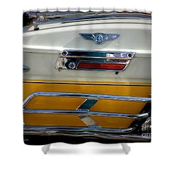 Yellow Harley Saddlebags Shower Curtain by Lainie Wrightson