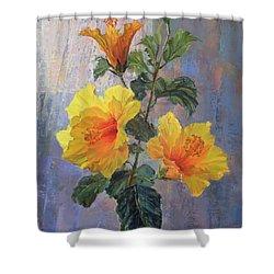 Yellow Hibiscus Flower Shower Curtain