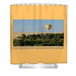 Yellow Hot Air Balloon Masai Mara Shower Curtain by Tom Wurl