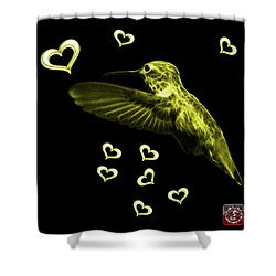 Shower Curtain featuring the digital art Yellow Hummingbird - 2055 F M by James Ahn