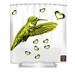 Shower Curtain featuring the digital art Yellow Hummingbird - 2055 F S M by James Ahn