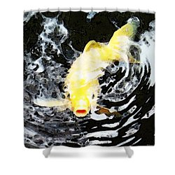 Yellow Koi - Black And White Art Shower Curtain by Sharon Cummings