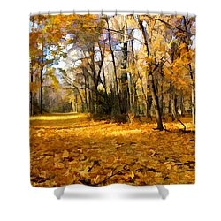 Yellow Leaf Road Shower Curtain
