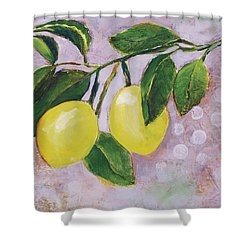 Yellow Lemons On Purple Orchid Shower Curtain by Jen Norton
