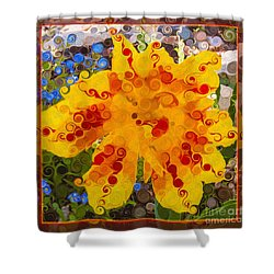 Shower Curtain featuring the painting Yellow Lily With Streaks Of Red Abstract Painting Flower Art by Omaste Witkowski