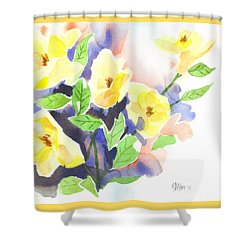 Yellow Magnolias Shower Curtain by Kip DeVore