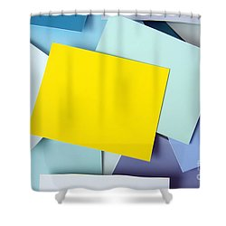 Yellow Memo Shower Curtain by Carlos Caetano