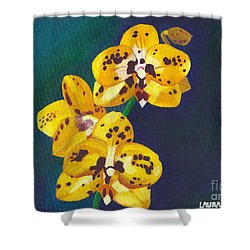 Yellow Orchids Shower Curtain by Laura Forde