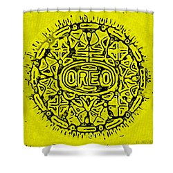 Yellow Oreo Shower Curtain by Rob Hans