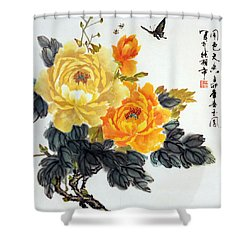 Yellow Peonies Shower Curtain