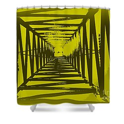 Yellow Perspective Shower Curtain by Clare Bevan