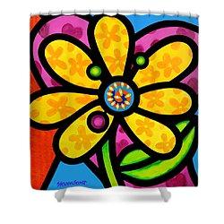 Yellow Pinwheel Daisy Shower Curtain