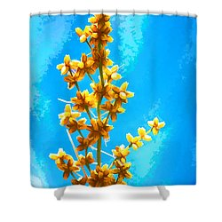 Shower Curtain featuring the photograph Yellow Plant by Yew Kwang