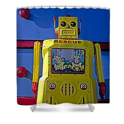 Yellow Robot In Front Of Drawers Shower Curtain by Garry Gay