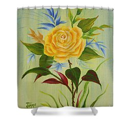 Shower Curtain featuring the painting Yellow Rose by Jimmie Bartlett