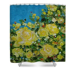 Shower Curtain featuring the painting Yellow Roses by Judith Rhue