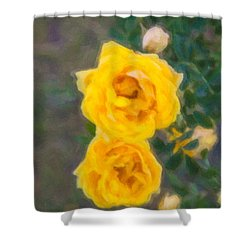 Yellow Roses On A Bush Shower Curtain by Omaste Witkowski