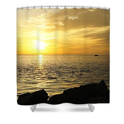 Yellow Sky Shower Curtain by Laurie Perry