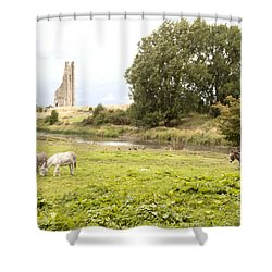 Yellow Steeple Amidst Meath Ireland Shower Curtain
