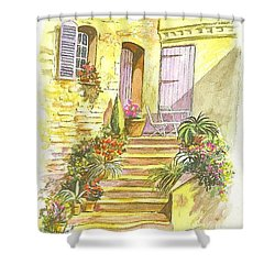 Shower Curtain featuring the painting Yellow Steps by Carol Wisniewski