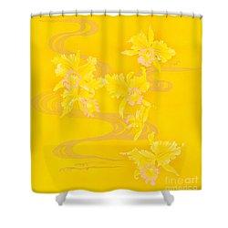 Yellow Stream Shower Curtain by Haruyo Morita